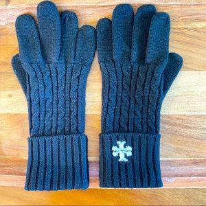 Black Tory Burch Merino Knitted Wool Gloves